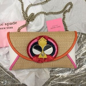 Kate Spade Spademals Raffia Preeny Peacock Clutch